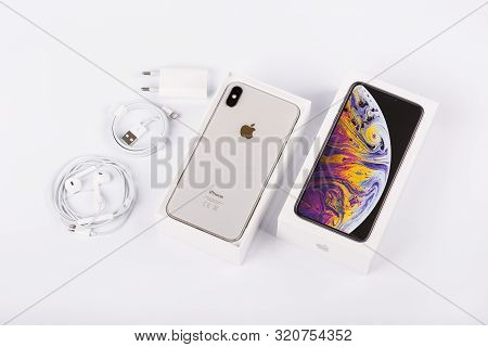 Burgas, Bulgaria - November 8, 2018: Apple Iphone Xs Max Silver On White Background, Back View. Char