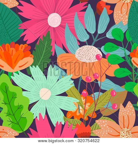 Cute Bright Floral Seamless Pattern With Mess Of Hand Drawn Flowers And Leaves On Dark Blue Backgrou