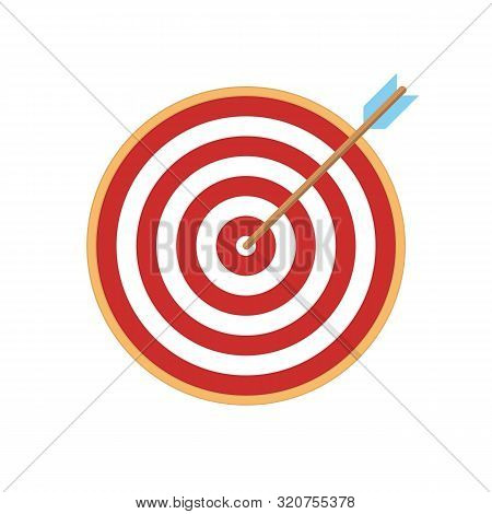 Target Arrow Flat Icon. Arrow Hitting Target. Business Concept.