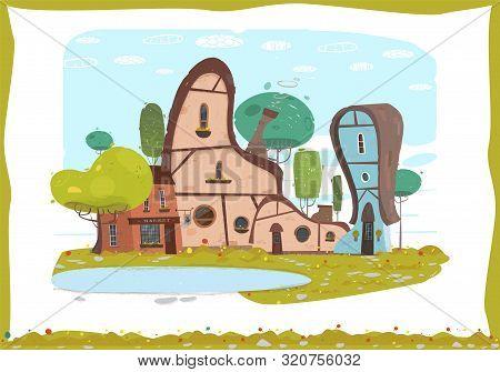 Idyllic Panorama Craft Village Scene In Frame