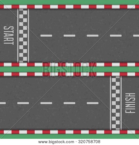 Start And Finish Line Racing Background. Finish, Start Line Kart Race Track In Top View. Grunge Text