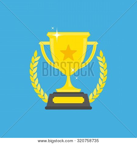 Trophy Cup Icon In Flat Style. Golden Shining Cup Sign, Isolated On Blue Background. First Place Gol
