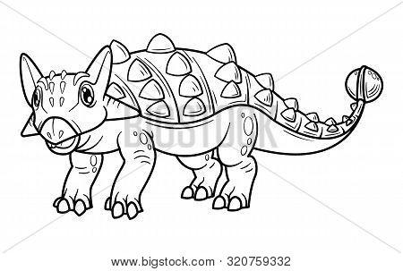 Cute Cartoon Dinosaur Ankylosaurus Character. Coloring Book And Education. Vector Illustration.