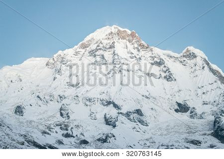 The Scenery View Of Annapurna South (7,219 Metres) Is A Mountain In The Annapurna Himal Range Of The