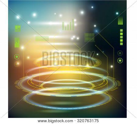 Sci-fi Futuristic Crosshair. Hud User Interface. Technology Background. Spaceship Hightech Target Sc