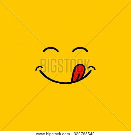 Yummy Smile Cartoon Line Emoticon With Tongue Lick Mouth. Delicious Tasty Food Eating Emoji Face On