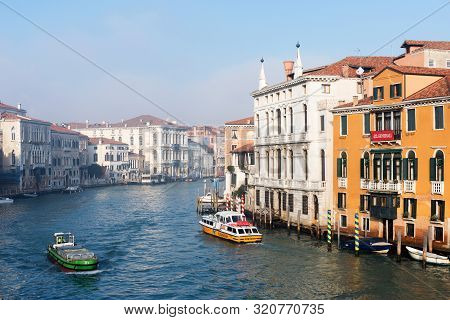 Venice, Italy - December 29, 2018: Panoramic View Of Famous Grand Canal In The Winter In Venice, Ita