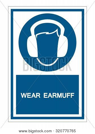 Symbol Wear Ear Muff Sign Isolate On White Background,vector Illustration