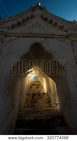 The Hsinbyume Pagoda In Mingun Myanmar Sunlight On The Staircase