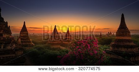 Sunrise Over Bagan  Myanmar, Pagodas And Brick Monastery