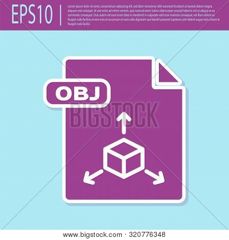 Retro Purple Obj File Document. Download Obj Button Icon Isolated On Turquoise Background. Obj File