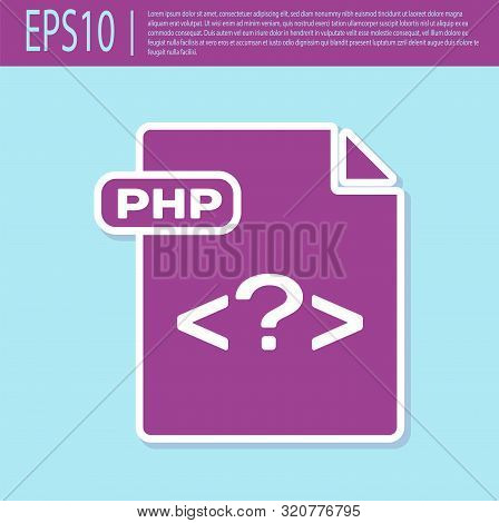 Retro Purple Php File Document. Download Php Button Icon Isolated On Turquoise Background. Php File