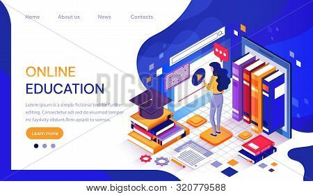 Webonline Education Infographic Or Web Template With A Female Student Working At A Digital Screen Su