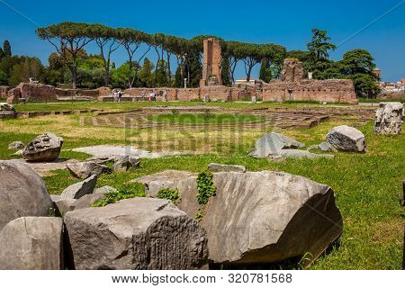 Rome, Italy - April, 2018: Peristyle With Octagonal Island At The Flavian Palace Also Known As The D