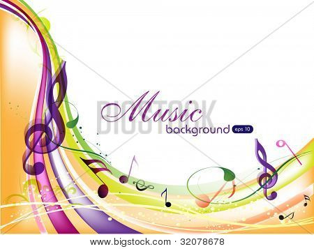 Vector musical background with colorful musical notes and waves and copy space for your text. EPS 10. can be use as flyer, banner, poster or template for musical events and other occasions.