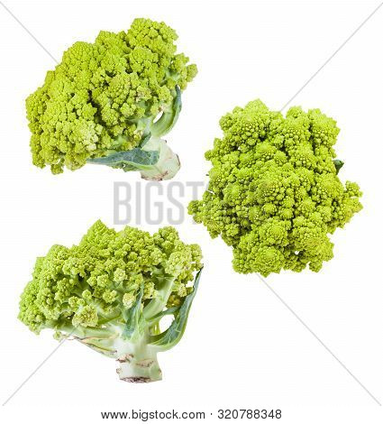 Several Romanesco Broccoli Heads Isolated On White Background