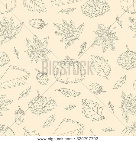 Vector Hand Drawn Seamless Pattern With Colorful Autumn Leaves, Acorns, Rowanberries, Pumpkins On An