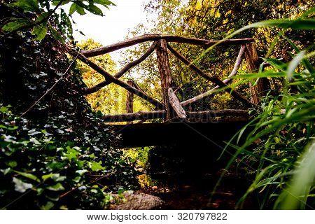 Quaint Rustic Village Wooden Picturesque Creek Bridge