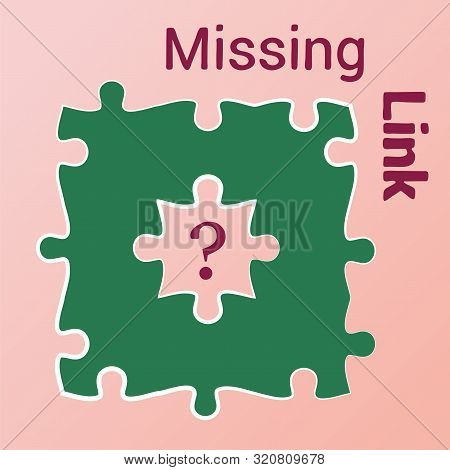 Green Jigsaw Puzzle With Missed Central Piece. Question Mark. Missing Piece, Element, Link. Solution