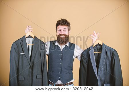 Man Bearded Fashion Couturier Tailor. Elegant Custom Outfit. Tailoring And Clothes Design. Perfect F