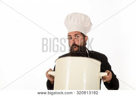 Food, Cuisine, Cookery And Gastronomy. Kitchen Utensils And Professional Cookery Concept. Bearded Ma