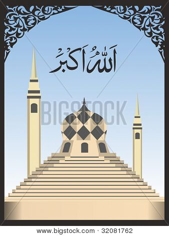 Arabic Islamic calligraphy of Allah O Akbar (Allah is [the] greatest) text with Mosque on  modern abstract background with floral pattern. EPS 10. Vector Illustration.