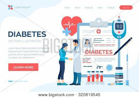 Medical Diagnosis - Diabetes. Diabetes Mellitus Type 2 And Insulin Production Concept. Doctor Taking