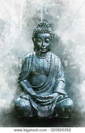 Watercolor Painting Of A Buddha Statue, Sign For Peace And Wisdom