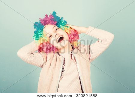 Happiness Is A Way Of Life. Happy Small Girl With Bright Synthetic Hair Smiling With Happiness. Rais