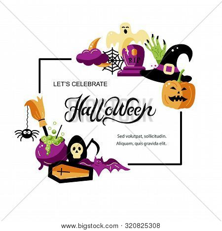 Halloween Card Set With Celebratory Subjects. Handwriting Lettering Halloween. Place For Text. Flat