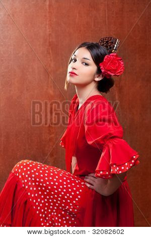 Flamenco dancer Spain woman gipsy with red rose and spanish peineta comb poster