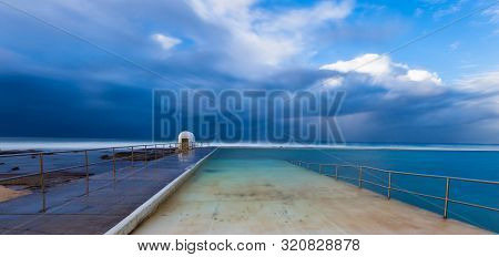 Stormy Winters Day At Merewether Ocean Baths - Newcastle Nsw Australia. These Ocean Baths Are A Icon
