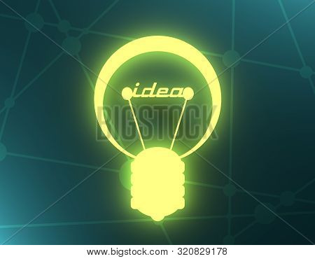Lamp Icon. Illustration Of Brainwork, Idea Appearance. Switch On Bulb Icon With Idea Text. 3d Render
