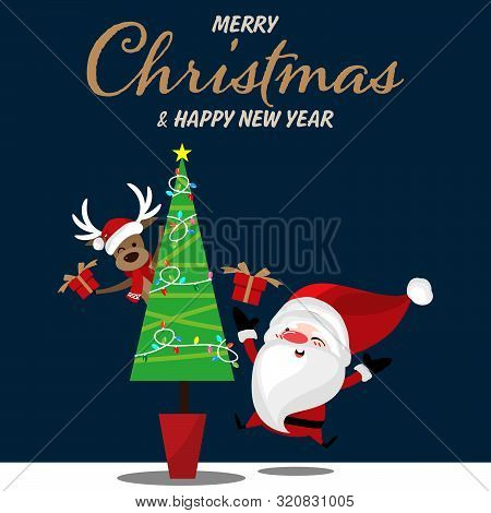Christmas Cartoon Of Santa Claus, Reindeer, Gift Box, Christmas Tree And Merry Christmas Text. Cute