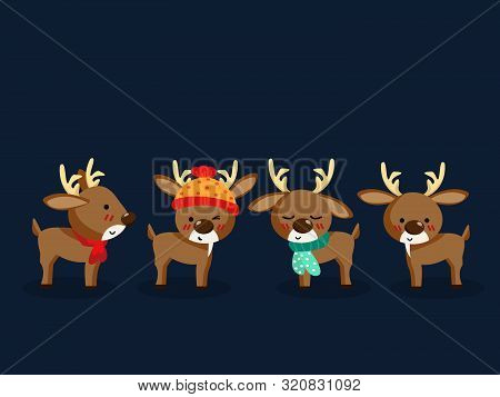 Set Of Cute Reindeer In Winter Custom For Christmas Holiday Season. Cute Cartoon Character. Design F