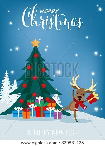 Christmas Cartoon Of Reindeer With Gift Box, Christmas Tree And Merry Christmas Text. Cute Christmas