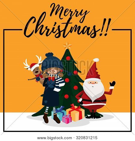 Christmas Cartoon Of Santa Claus, Reindeer, Gift Box, Christmas Tree And Merry Christmas Text. Cute