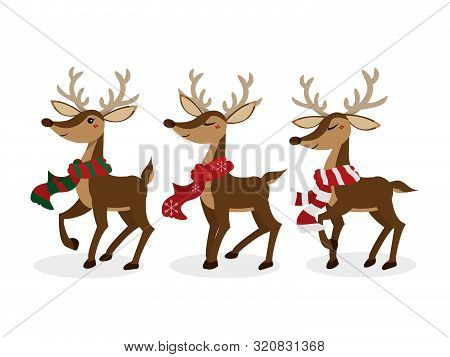 Set Of Reindeer For Christmas Holiday Season. Cute Christmas Holidays Cartoon Character Background.