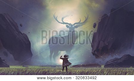 The Man With A Magic Lantern Facing The Giant Deer In A Mysterious Valley, Digital Art Style, Illust