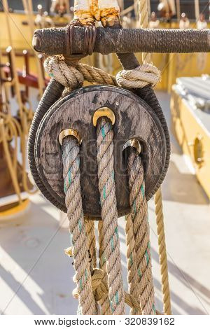 Wooden Pully On A Historic Ship In Groningen, The Netherlands