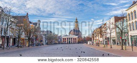 Groningen, Netherlands - November 18, 2018: Panorama Of The Fish Market Square In Groningen, Netherl