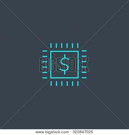 Fintech Concept Blue Line Icon. Simple Thin Element On Dark Background. Fin-tech Concept Outline Sym