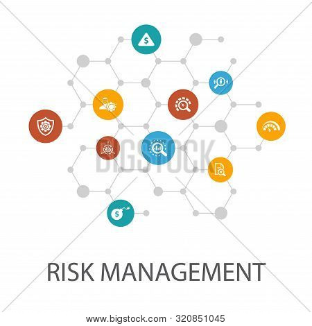 Risk Management Presentation Template, Cover Layout And Infographics. Control, Identify, Level Of Ri