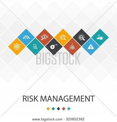 Risk Management Trendy Ui Template Infographics Concept. Control, Identify, Level Of Risk