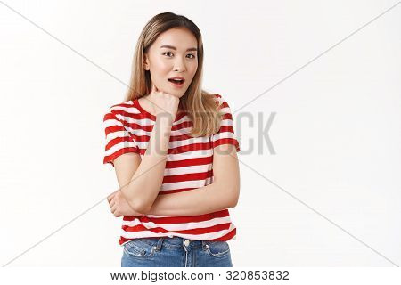Amazed Talkative Pretty Asian Blond Female Student Open Mouth Gasping Surprised Listen Amused Shocki