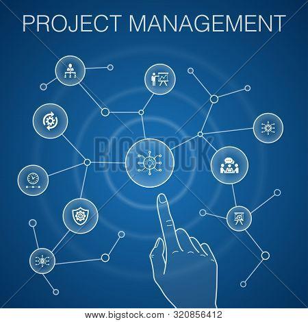 Project Management Concept, Blue Background.project Presentation, Meeting, Workflow, Risk Management