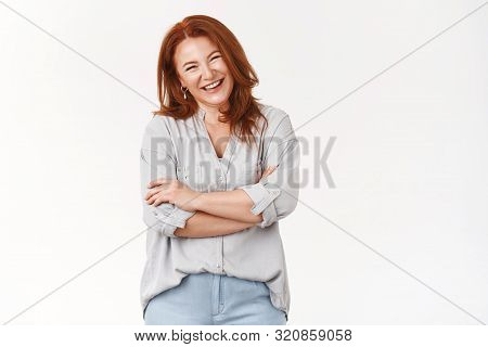 Beauty Not Care Age. Attractive Cheerful Redhead Middle-aged Redhead Woman Laughing Joyfully Feel Ha