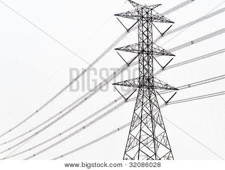 High Voltage Power Pole On White Background