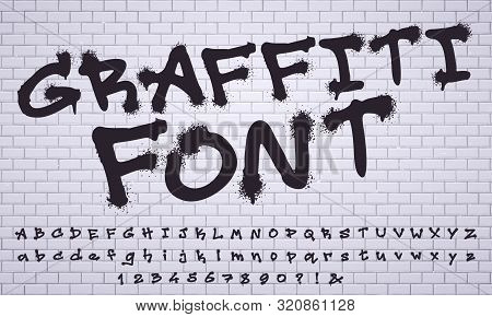 Spray Graffiti Font. City Street Art Wall Tagging Lettering, Dirty Graffitis Numbers And Letters. Gr