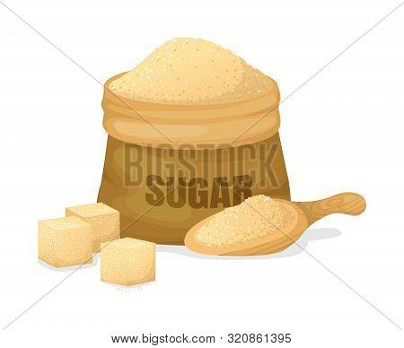 Sugar Of Sugarcane With A Scoop, Burlap Sack, Crystal Sugar